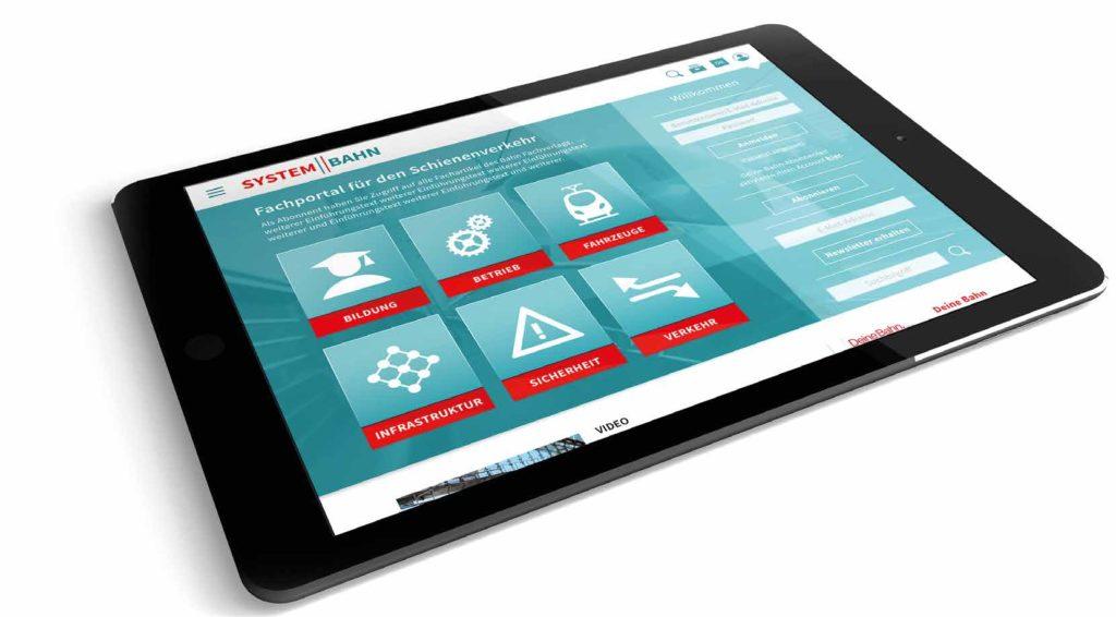 Tablet mit Startseite der Website System Bahn