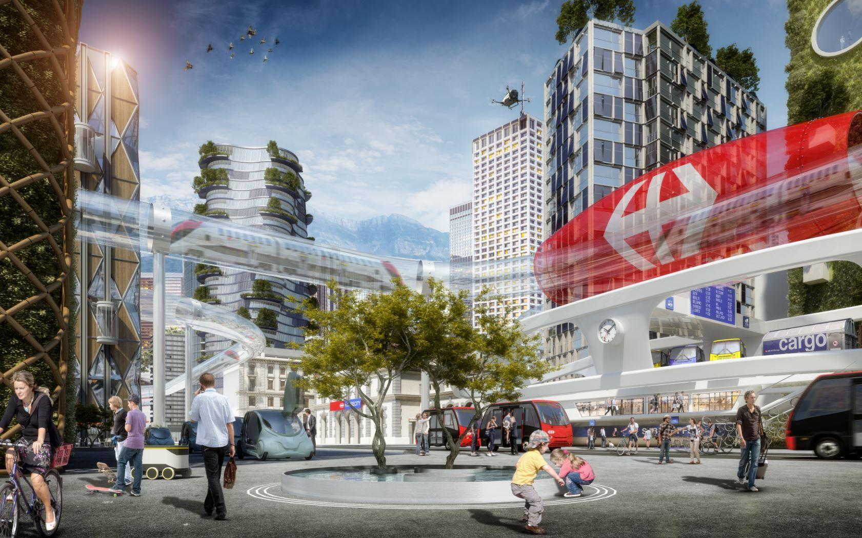 simulierte darstellung eines Bahnhofs in der Smart City