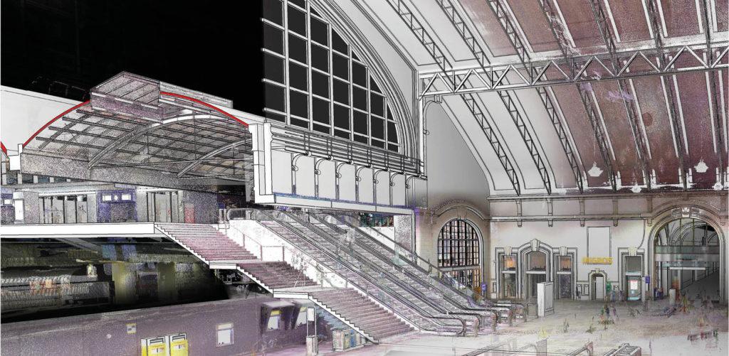 Simulierte Darstellung der Erneuerung des Westflügels am Bahnhof Basel