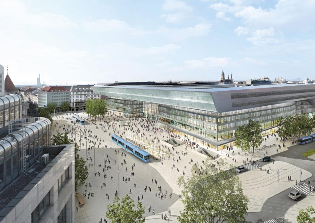 Vorplatz mit Empfangsgebäude_Blick vom Luisenhof