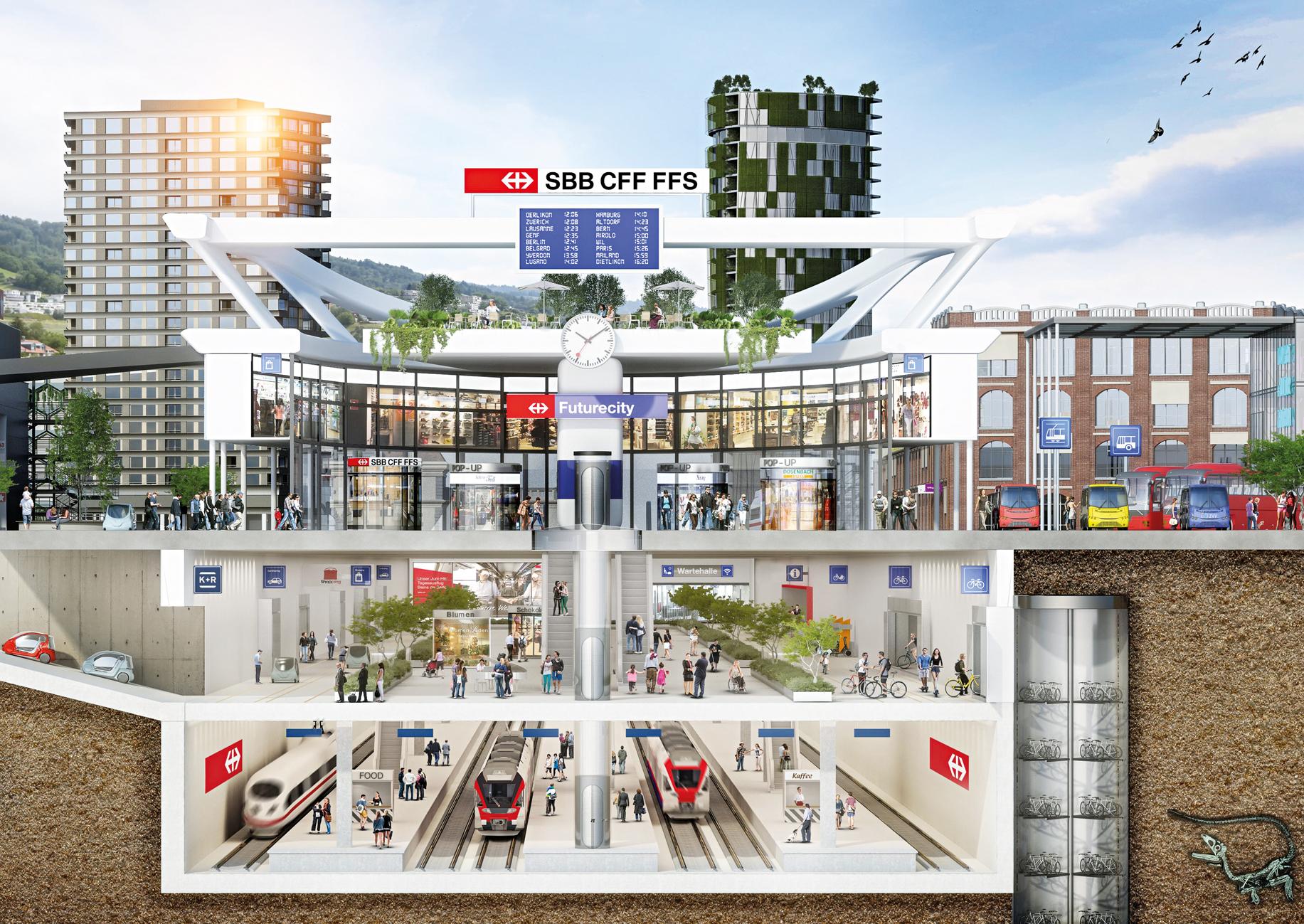 Simulatierte Darstellung einer zukünftigen Stadt mit Bahnhof