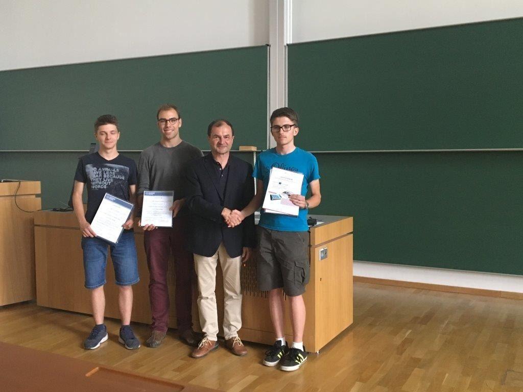 Eric Koreng, Wieland Kestler, Prof. Rainer König, Daniel Slobodin (v.l.n.r.)