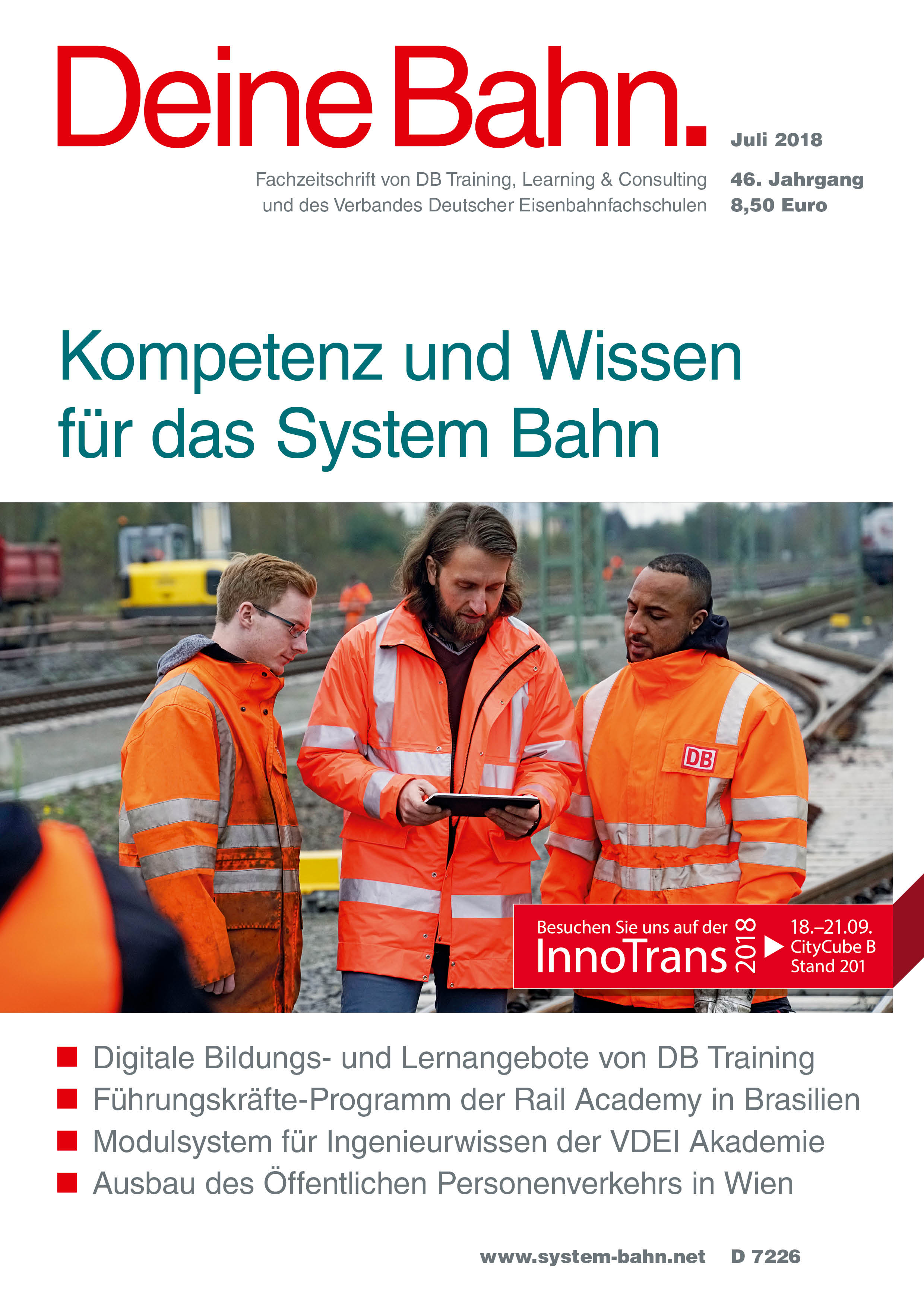 Fachzeitschrift Deine Bahn Juli 2018 umschlagmotiv