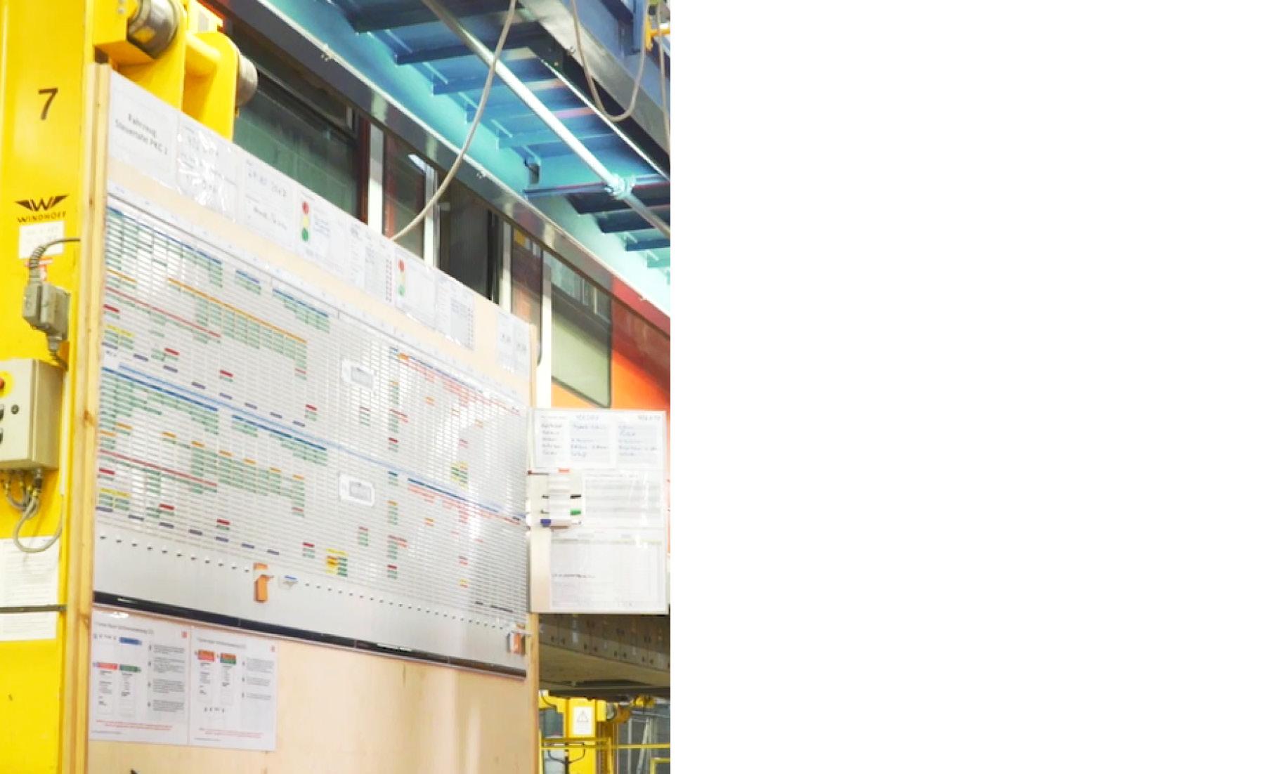 Wand mit Steuerungsboard in einer Werkshalle