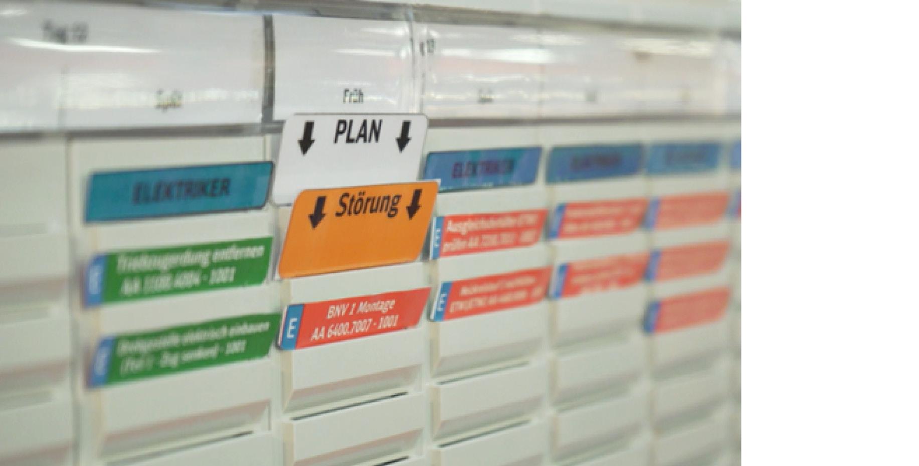 """karten """"Plan"""" und """"Störung"""" schauen auf dem Board heraus"""