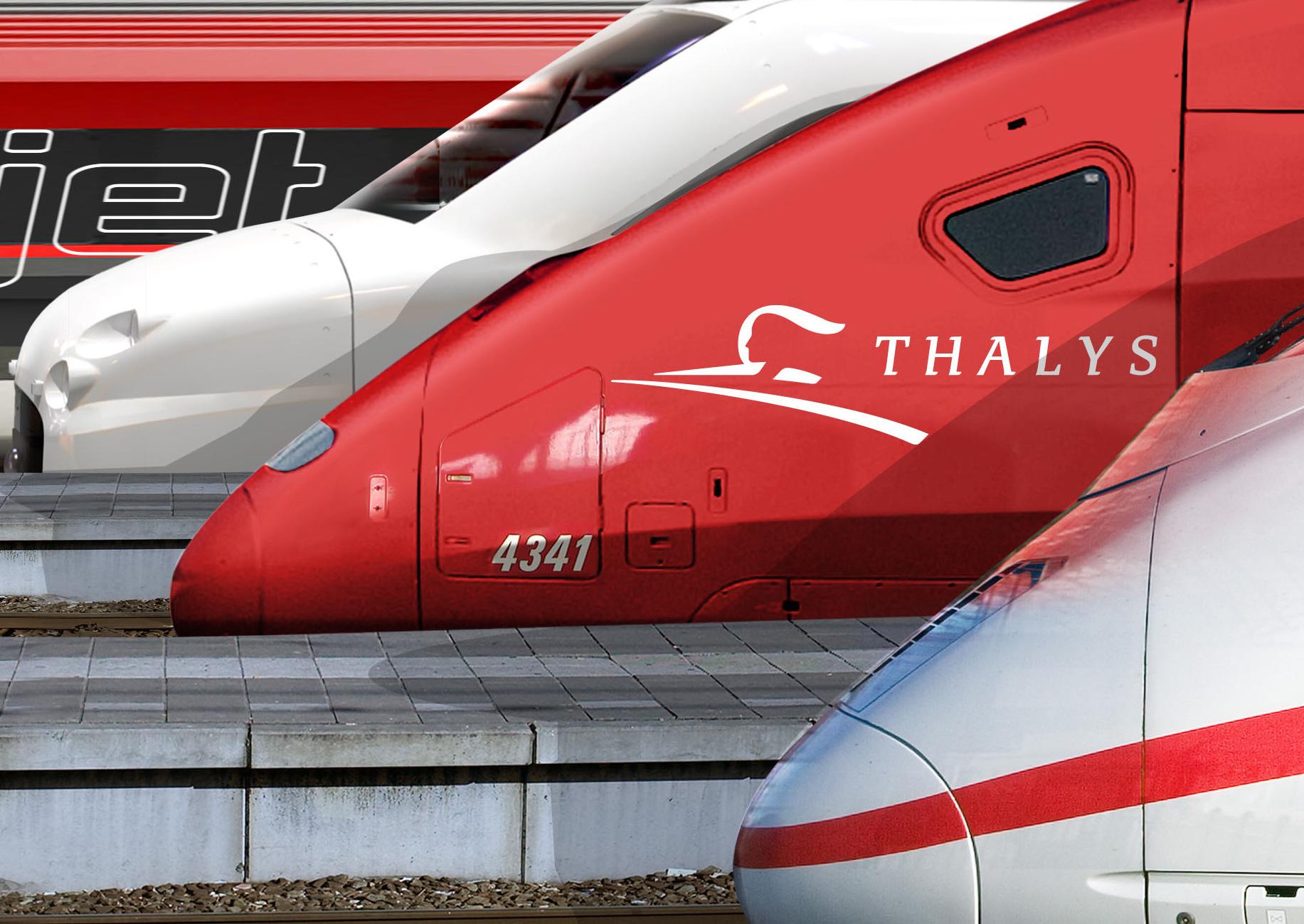 Mehrere Triebzugköpfe nebeneinander, TGV, Thalys und ICE