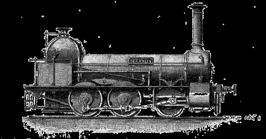 historische zeichnung der verschollen Dampflokomotive Rhein