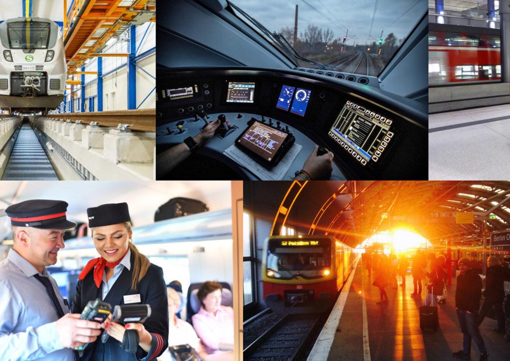 Collage mit Szenen aus dem Personenverkehr der Deutschen Bahn