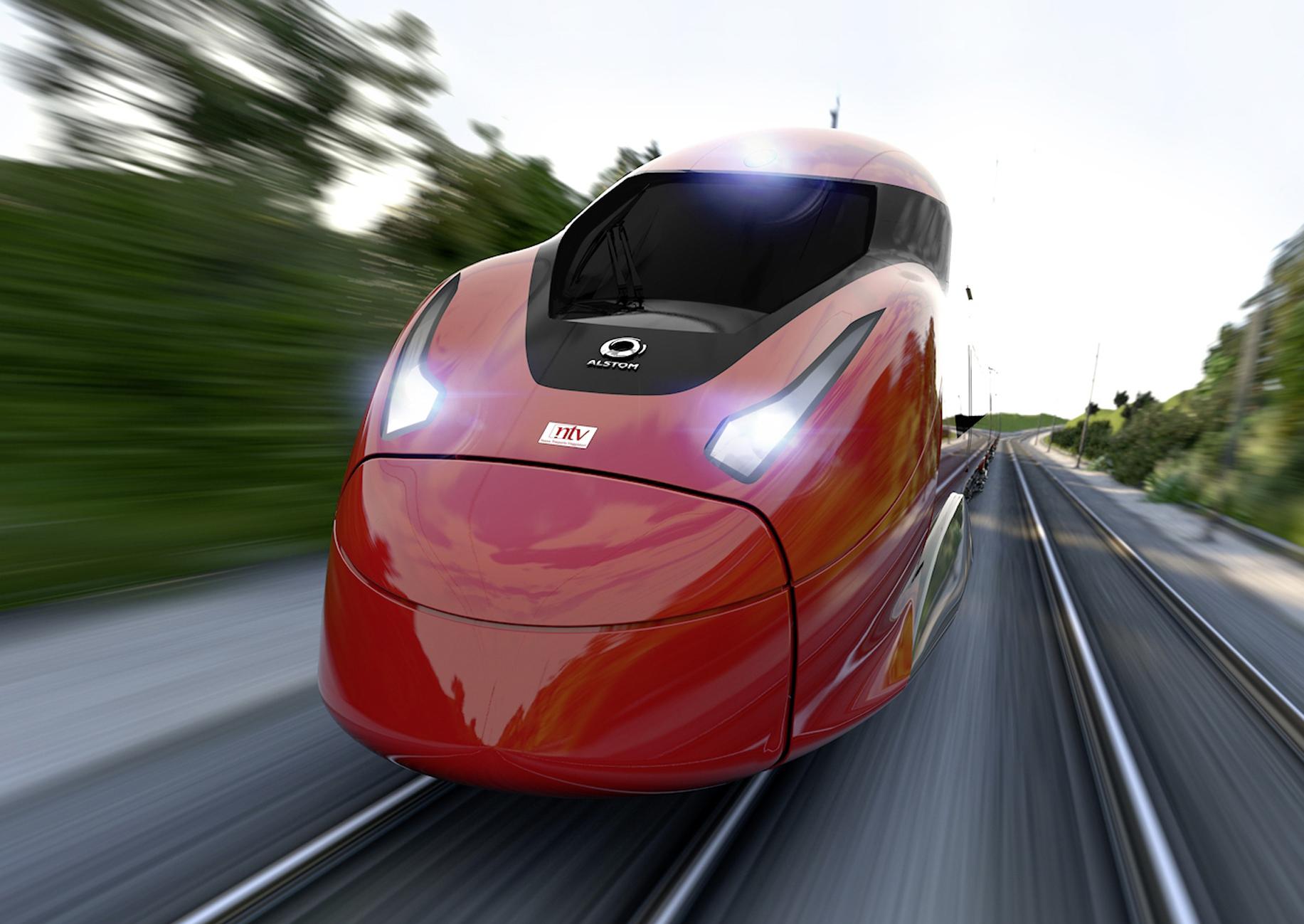 Frontaufnahme eines roten Alstom-Schnellzuges in Fahrt