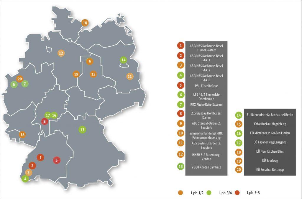 Deutschlandkarte mit Aus- und Neubaustrecken