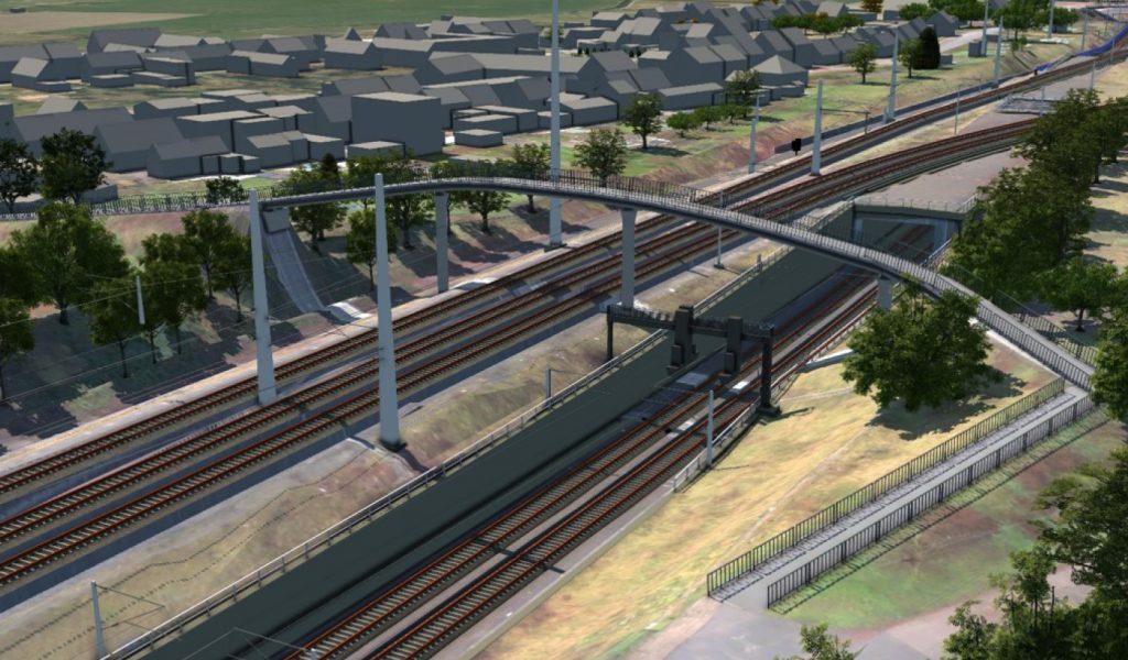 Modell einer Strecke mit Fußgängerbrücke und Tunnel