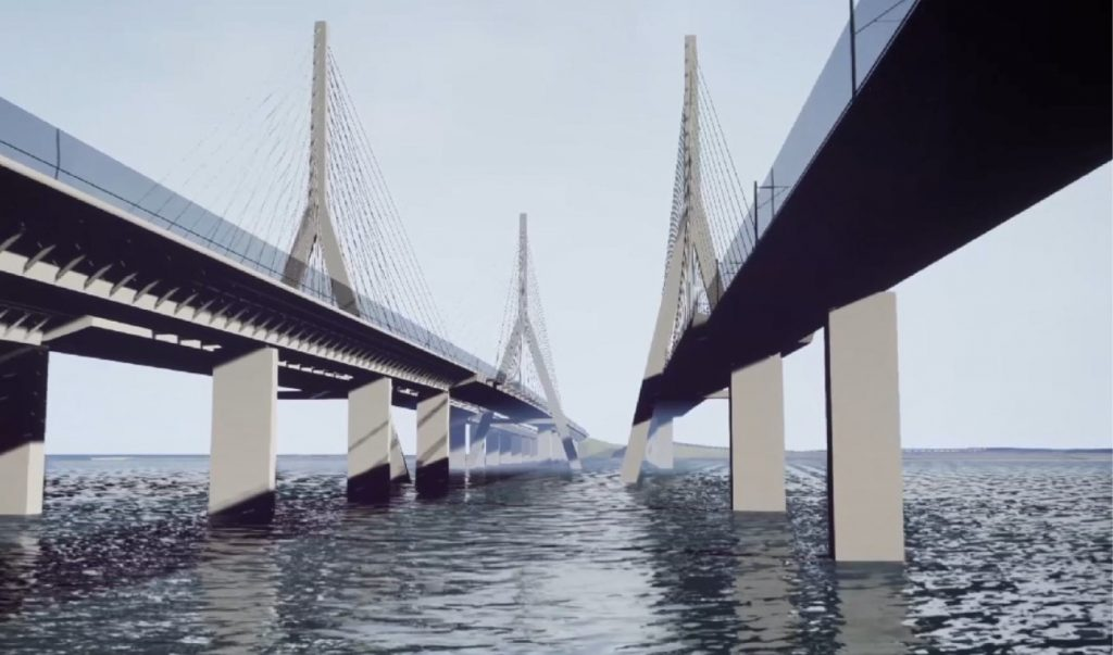Brückenmodell über das Meer