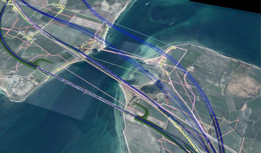 Fiktives Luftbild mit diversen Strecken