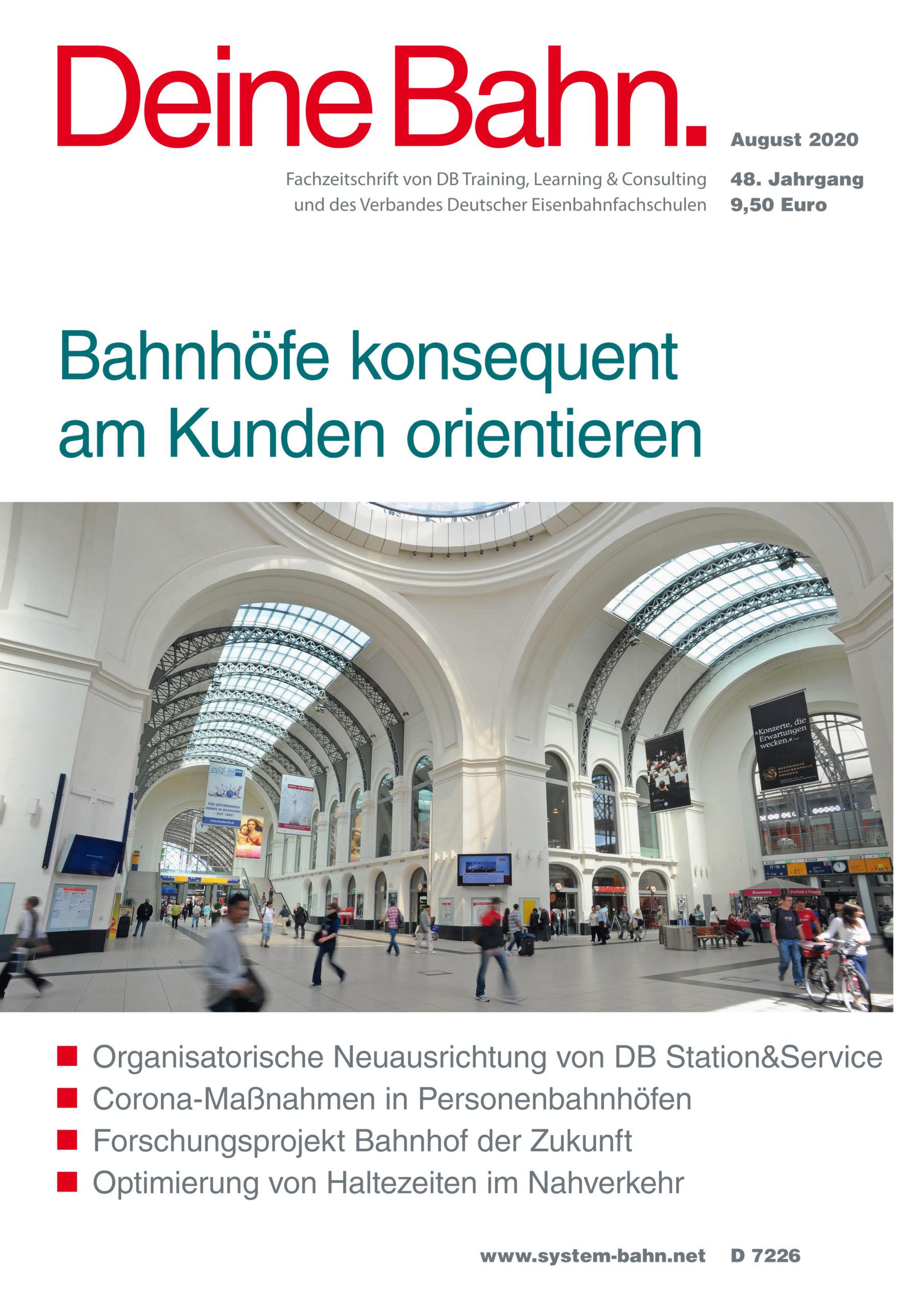Umschlagmotiv Fachzeitschrift Deine Bahn August 2020