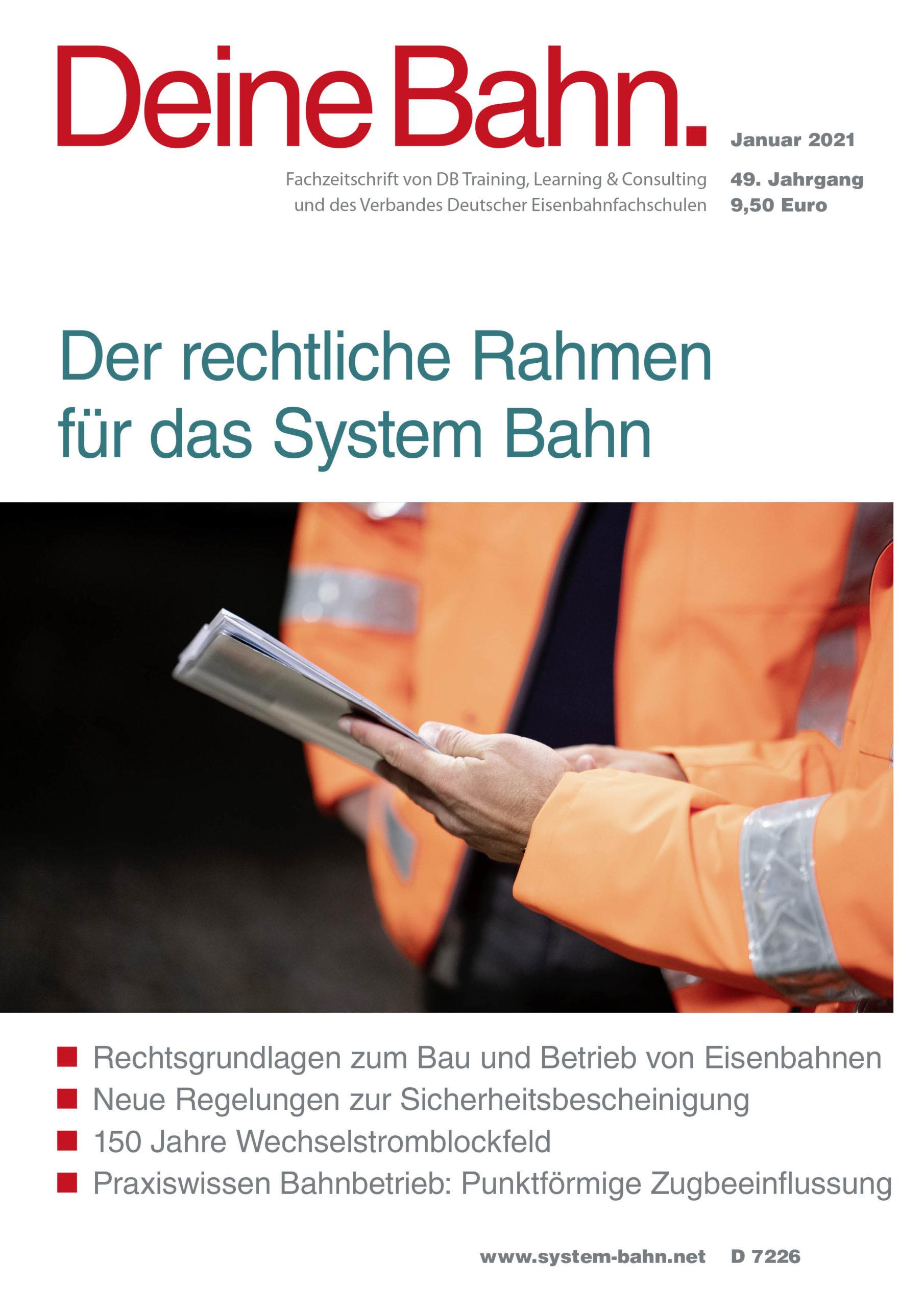 Umschlagmotiv Fachzeitschrift Deine Bahn Januar 2021