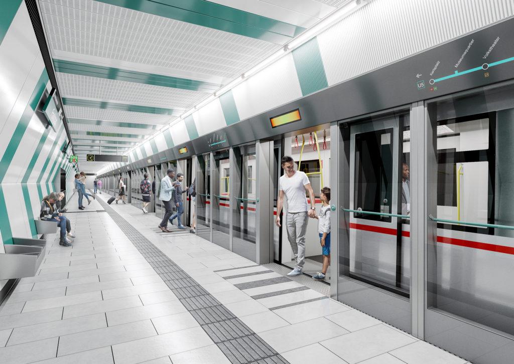 Model moderner Bahnsteig mit ein- und aussteigenden Fahrgästen