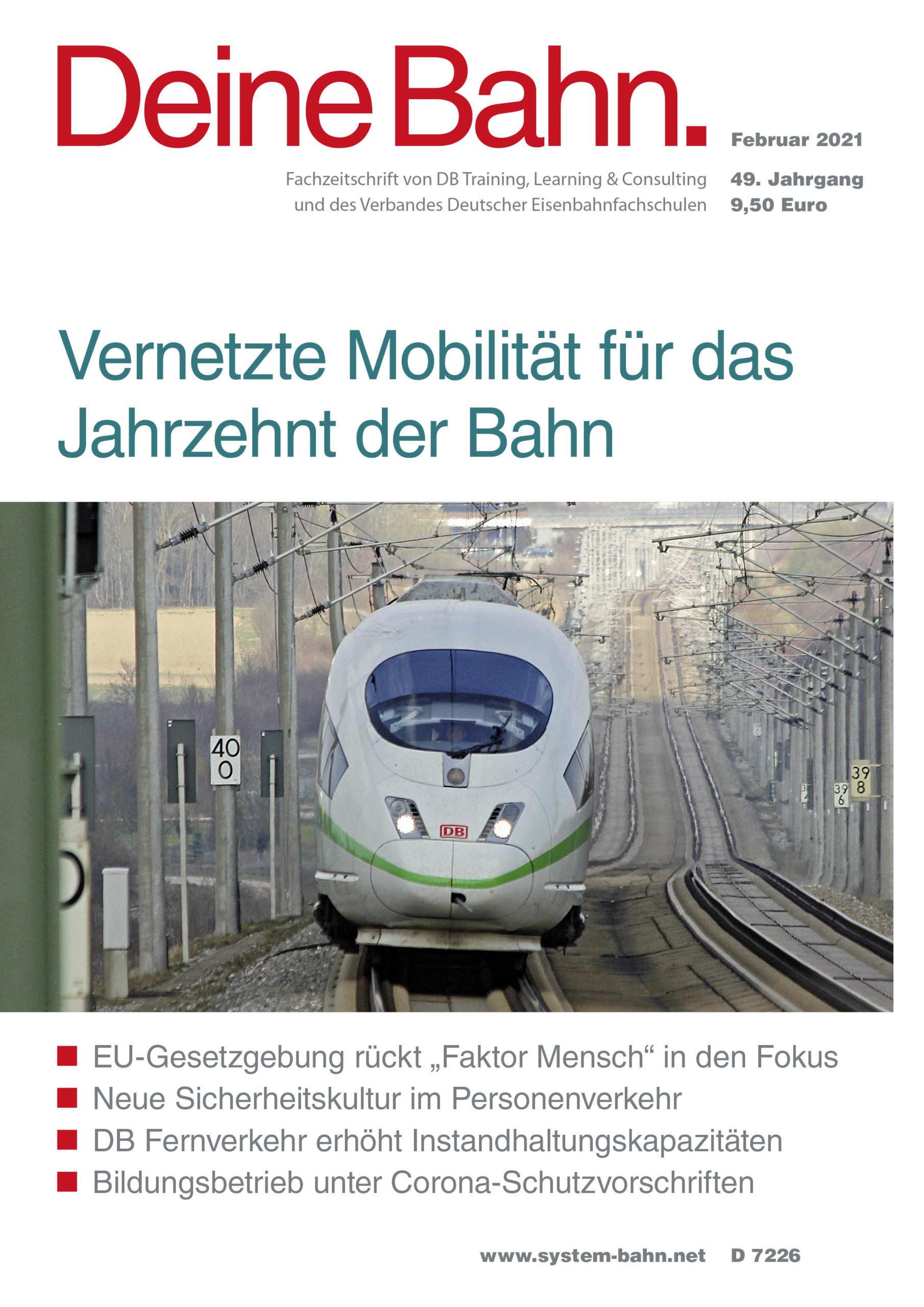 Umschlagmotiv Fachzeitschrift Deine Bahn Februar 2021