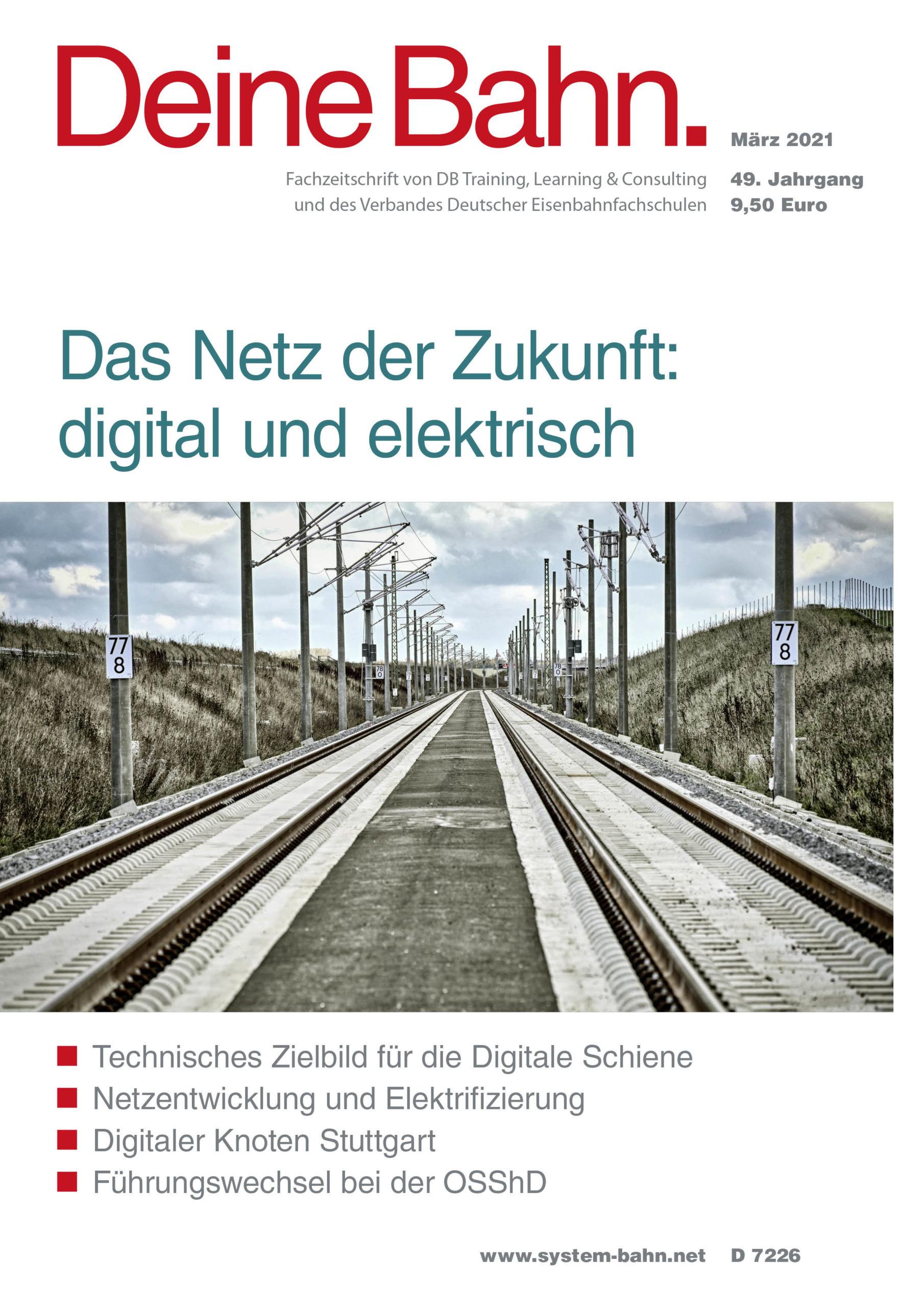 Umschlagmotiv Fachzeitschrift Deine Bahn März 2021