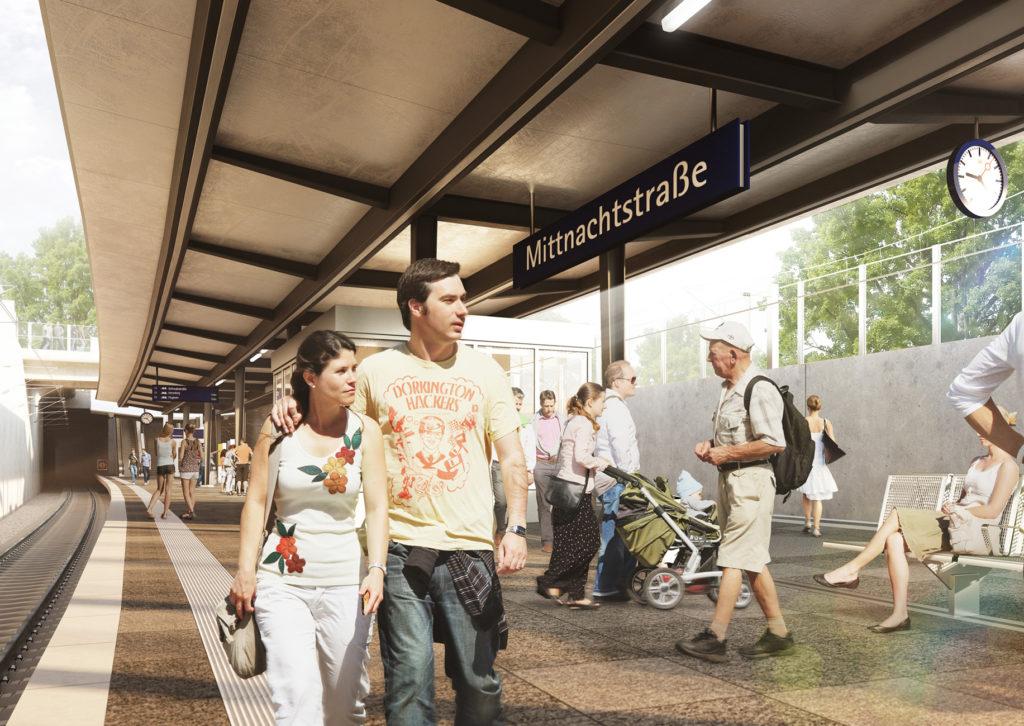 Visualisierung Bahnsteig mit Reisenden