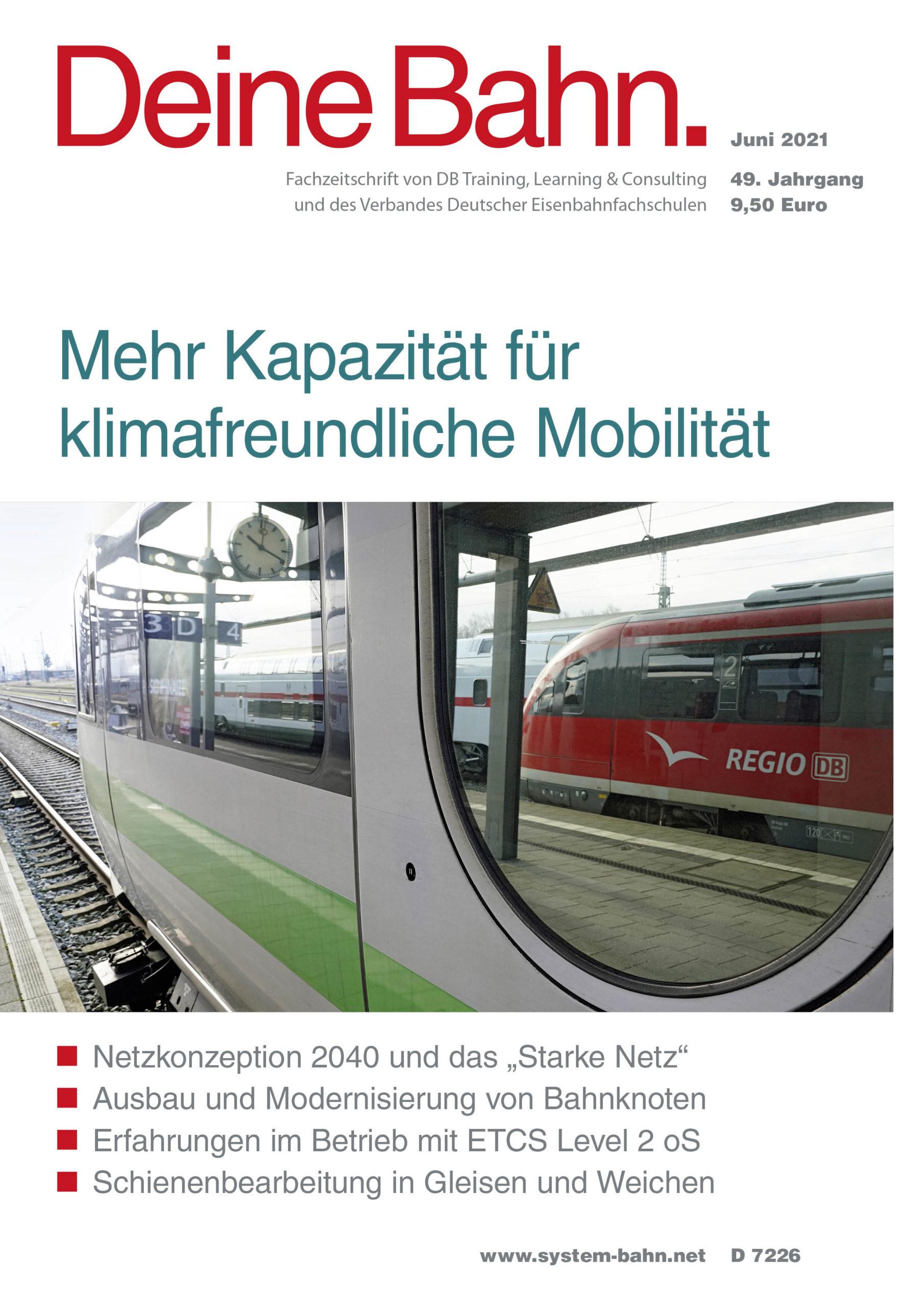 Umschlagmotiv Fachzeitschrift Deine Bahn Juni 2021