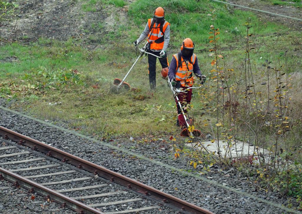 Mitarbeiter von DB Fahrwegdienste bei der Vegetationskontrolle