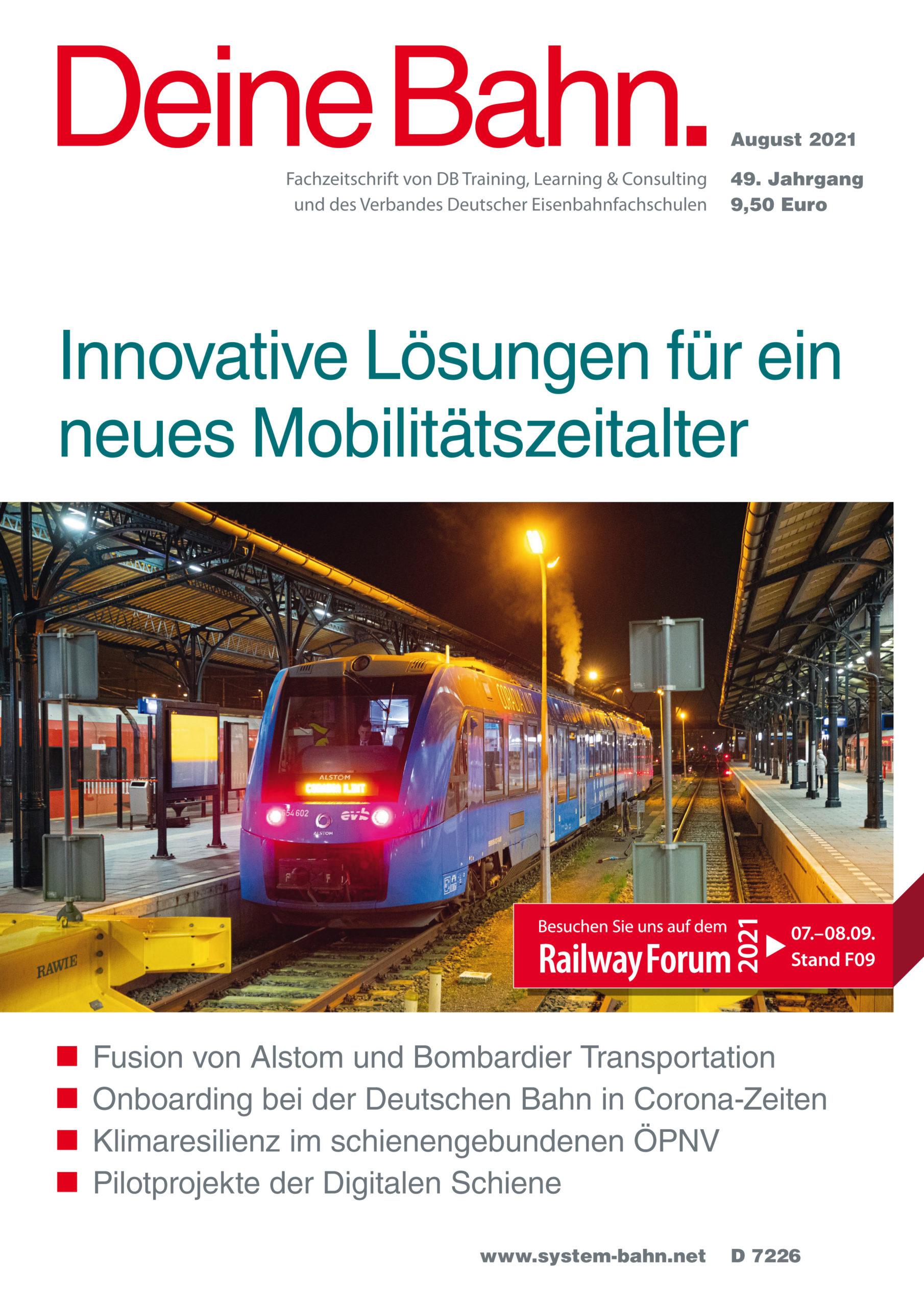 Umschlagmotiv Fachzeitschrift Deine Bahn August 2021