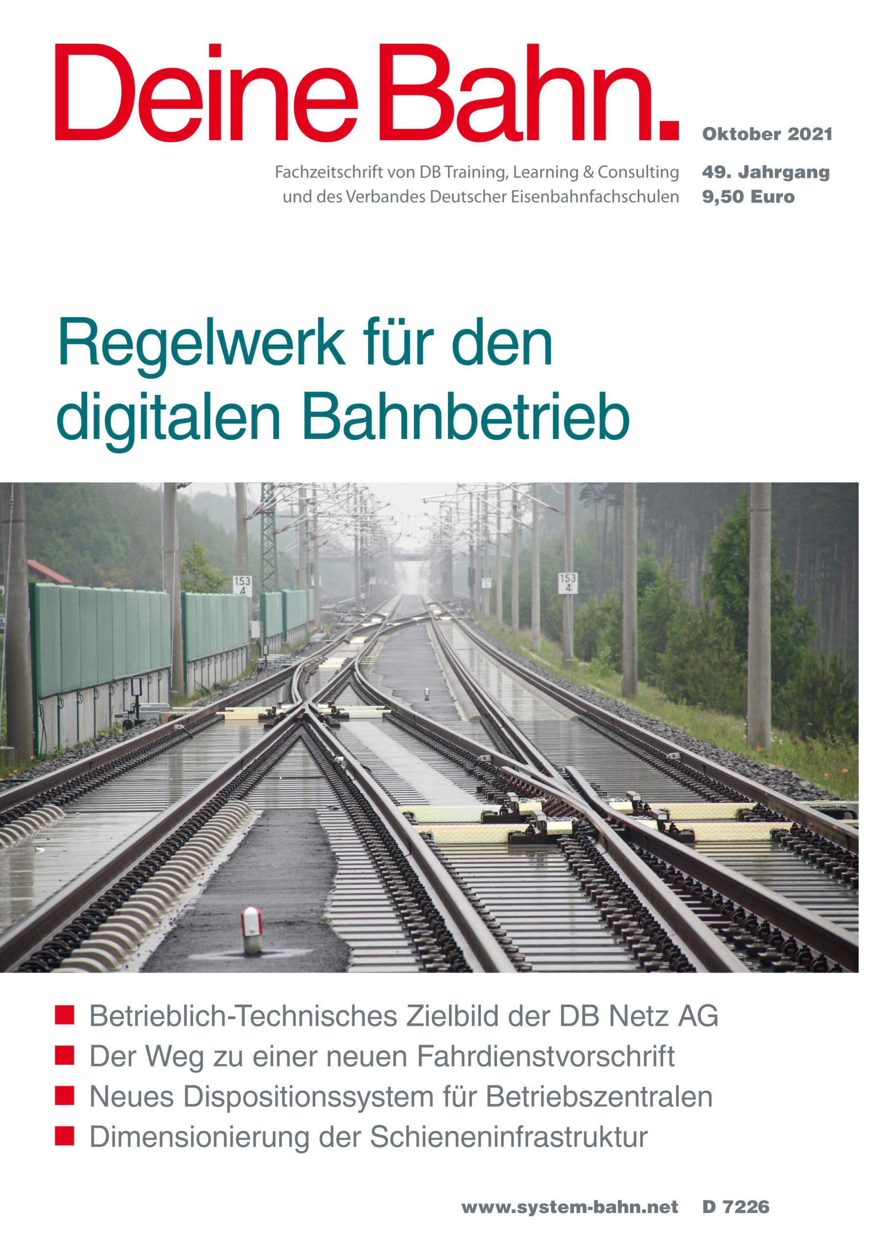 Umschlagmotiv Fachzeitschrift Deine Bahn Oktober 2021