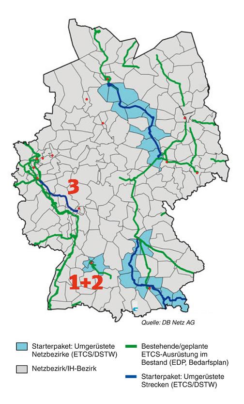 Deutschlandkarte mit farbigen Kennzeichnungen